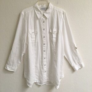 Chico's 100% linen longsleeve roll up shirt L